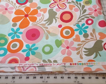 cotton modern Floral print multi color Free Spirit over 4yd