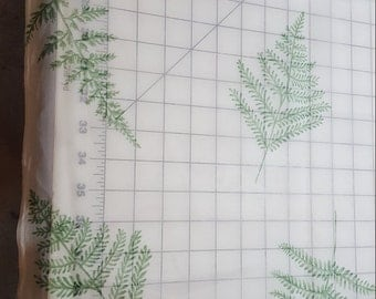 Drapery Sheer Off White with Green Fern Foilage almost 6yd