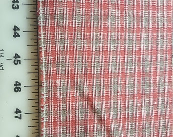 Vintage Rose Red or Coral and Taupe Grey wool blend plaid check flannel almost 2-1/2yd