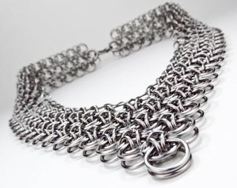 Wide Chainmaille Necklace - Japanese Dragonscale Design