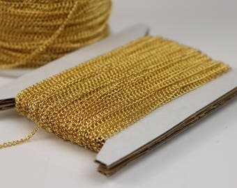 NEWnew 32 ft Gold Plated Solder LARGE Link Curb Chain  - 1.6mmx2.0mm SOLDERED Link