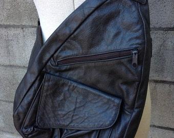 Sling Leather Backpack Vintage 1990s Gray Brown Back pack Mexico Bag