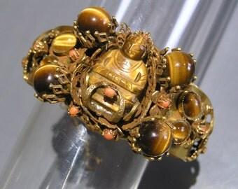 Art Deco Cuff Bracelet . Carved Budda.  Dragon . Elsa Schiaparelli