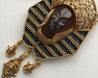 MASSIVE Vintage Egyptian Revival Pendant . Necklace . High End Costume Jewelry