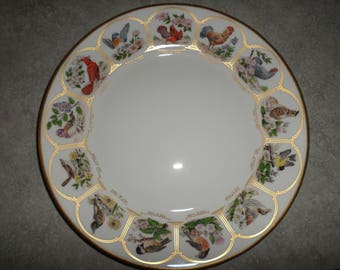 Birds & Flowers of the 13 Original States porcelain Boehm PLATE natural life like paintings gold trim