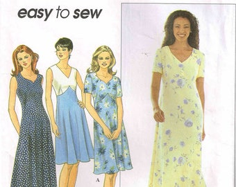 Summer Dress Sundress Sewing Pattern Simplicity 8504 Midi Maxi Length V Neckline Size 8, 10, 12 Bust 31.5 32.5 34 Cut Complete