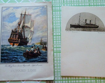 RMS Carmania July 1930 Breakfast Menu and Farewell Dinner Menu also 1930 RMS CARONIA Cunard Lines Rare Illustration of the Mayflower