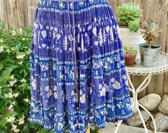 Vintage Blue rose Indian skirt