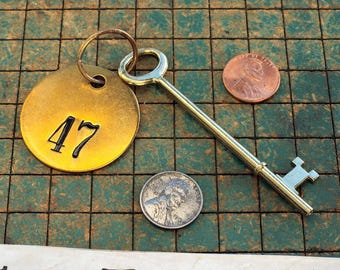 Brass Skeleton Key, with brass tag, 47, hotel key, silver soldered brass ring, rustic, steampunk, pirate, old west, man cave