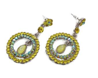 Rhinestone Earrings, Yellow, Aqua Green, Long Dangle, Vintage Earrings, Pierced, Bohemian, Vintage Jewelry, Unique Unusual, Big Statement