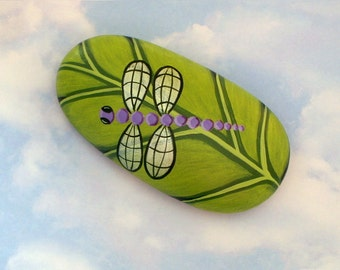 Unique OOAK 3D art-purple dragonfly on chartreuse leaf-painted rock-collectible garden art-paperweight-tableweight-patio decor-spring finds
