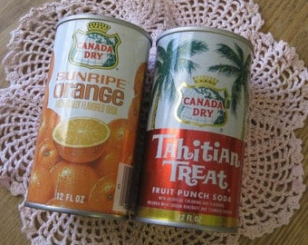 Two Vintage Soda Pop Cans Canada Dry Tahitian Treat and Sunripe Orange