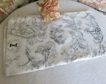 Vintage French Black & White Toile de Jouy Fabric, Crisp Cotton Cloth, Vintage French Country Design, Vintage Home Sewing Project