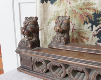 Pair of Vintage French Carved Wood Upstands, Decorative Lion Head Plinths, Period French Home Decor, Paris Chic Design