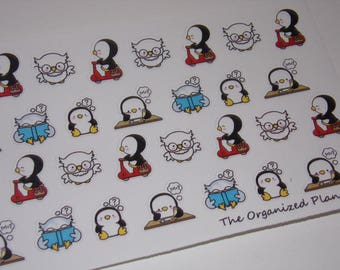 38 School Owl and Penguin Stickers / Great for your Erin Condren Life Planner!