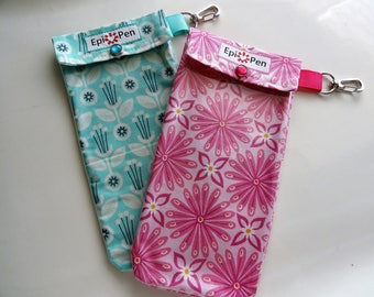 Epi Pen Pouches (2 Pack) Clear Pocket and Clip Each Holds 2 Allergy Injectors - 4x8 You Choose Fabric