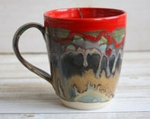 Large Stoneware Pottery Mug with Melting Dripping Earthy and Red Glazes Handmade Coffee Cup Made in USA