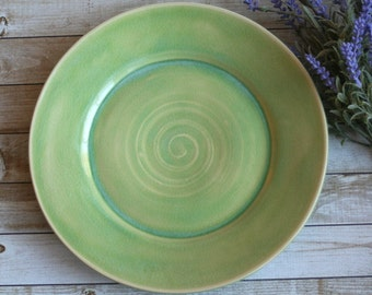 Spring Green Stoneware Dinner Plate Handmade Pottery Dinnerware Ready to Ship Made in USA