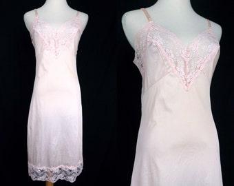 1960s Pink Full Slip Lace Nylon Silky Nightie Negligee Nightgown Small Medium