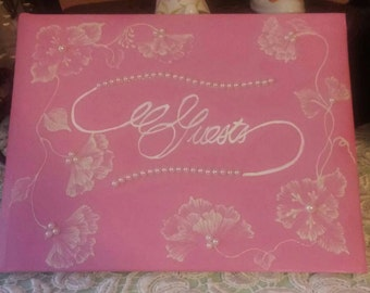 Handpainted Wedding Bridal Guest Book Guestbooks Flowers Pearls