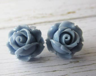 Light Corn Blue Resin Rose Stud Earrings