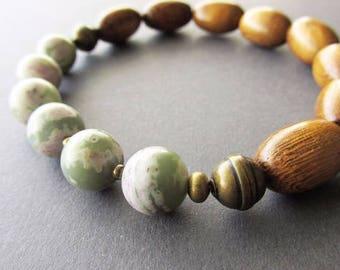 Beaded Stretch Wood and Peace Jade Men's Bracelet. Unisex Jewellery