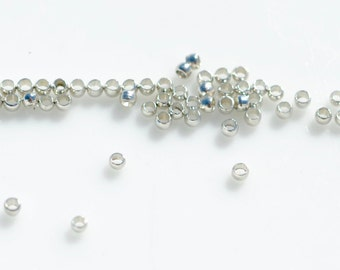 100 Silver Tone 1.5mm Crimp Beads F278