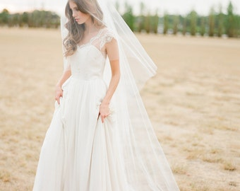 AMORA | chapel veil with blusher, long wedding veil, veil with blusher