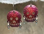 Day of the Dead Earrings - Sugar Skull Earrings - Skulls - Copper Jewelry - Nickel Free - Dangle Earrings - Purple Earrings - Handmade