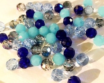 Mixed 6mm Faceted Round Glass Beads (90)
