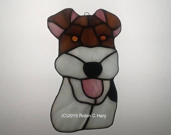 Wire Hair Fox Terrier Suncatacher in Stained Glass