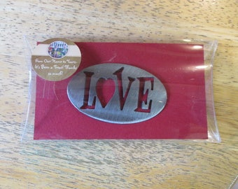 Love w Heart Magnet - 2 lb Earth magnet - LOVE - AFFECTION - Marriage - Wedding _ Door - locker - magnet board  - photos - strong steel