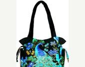 SALE - Peacock Blue Green Black - Handbag, Purse, Tote, Shoulder Bag, Outside Pockets