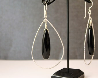 The Becka Black Onyx Briolette Hoop Earrings with Matte Silver Hoops and Sterling Silver Earwires