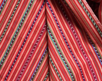 Red Multicolor Stripe Woven Cotton Dress Making Fabric Hippie Chic Laurel Canyon 1960s 1970s Boho Fabric Yardage Summer House Tablecloth