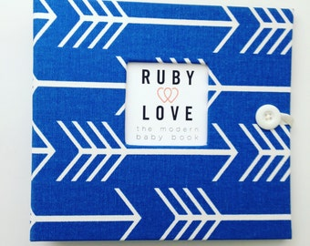 BABY BOOK | Cobalt Blue Arrows Silhouette Album | Ruby Love Modern Baby Memory Book