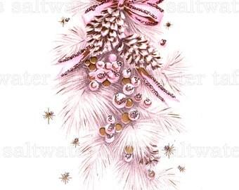 Pink Christmas Tree Spray Mid Century Digital Download vintage card holiday christmas ornament christmas xmas pink pinecone gold glitter