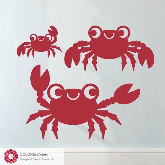 Happy Crab Wall Decals: Kids Beach Ocean Nursery