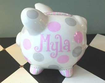 Pink and Grey Polk Dots Personalized Piggy Bank Size Small Hand Painted