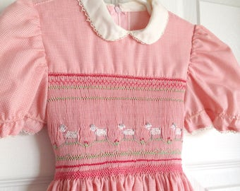 Pink Smocked Girls Dress Easter Lambs Size 3T 1980s Handmade