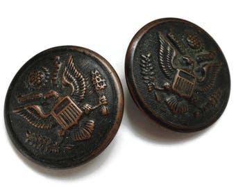 Army Antique Buttons - 2 Vintage Early 1900s Large 1 1/8 inch 27mm Uniform Coat Jacket Blazer For Jewelry Supplies Molding Beads Sewing