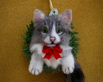 Custom Handmade Cat Kitten OOAK Holiday Christmas Tree Ornament Needle Felted