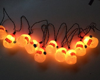 Vintage Blow Mold Santa Christmas String of Lights Mid Century