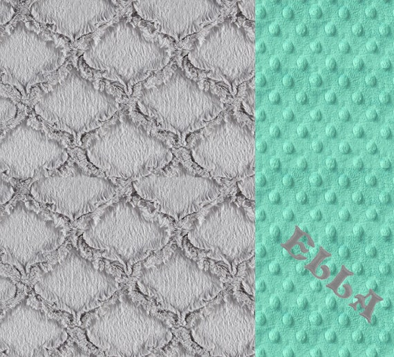 Baby Girl Minky Baby Blanket, Mint Gray Personalized Baby Blanket, Geometric Blanket, Baby shower Gift, Name Baby Blanket Kids Minky Blanket