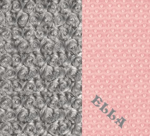 Pink Gray Blanket / 42 x 55 Baby Minky Blanket Girl, Pink Gray Rose Swirl Personalized Baby Blanket // Pink Baby Blanket / Crib Blanket