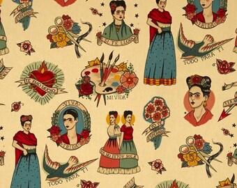 Frida Foklorica Fabric Todo Para Ti - Alexander Henry Fabrics Parchment Background