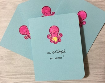 Valentines Dat Note Card Set, Octopus , thank you notes, bridal gift, graduation gift, Christmas gift, watercolor note cards, mixed media