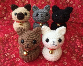 Amigurumi Chibi-Neko - white, gray, black, brown, or Siamese cat
