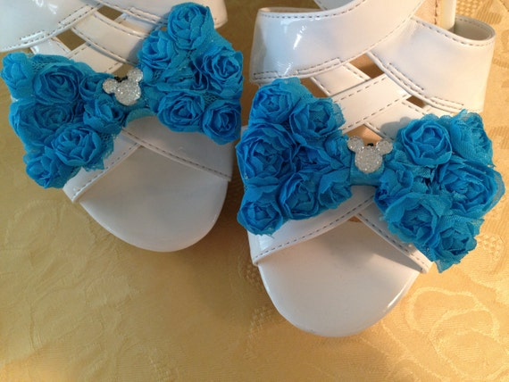 Disney Wedding Shoe Clips Hidden Mickey Shoes  Aqua Bridal Party-Disney Trip-Going Away Outfit