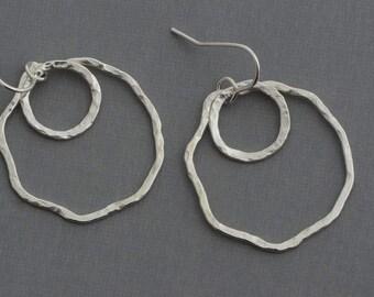 Sterling Silver irregular hammered hoop earrings open circle dangle earrings classic minimalist contemporary geometric artisan jewelry